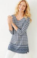 J. Jill Mixed-Print Linen-Knit Tunic