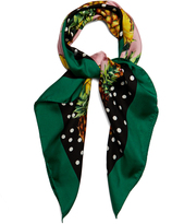 Dolce & Gabbana Pineapple and polka-dot print silk scarf