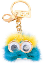 Sophie Hulme monster head keychain - women - Leather/Rabbit Fur/Brass - One Size