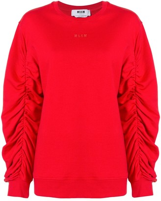 MSGM Ruched Sleeve Cotton Sweatshirt