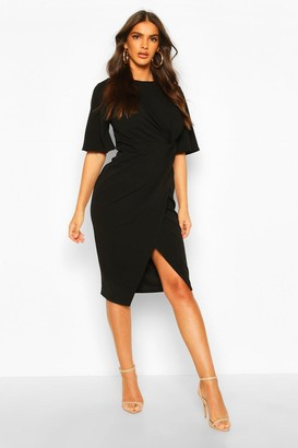 boohoo Flared Sleeve Twist Front Midi Dress