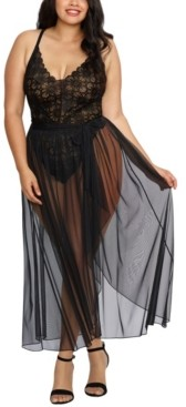 Dreamgirl Plus Size Mosaic Lace Teddy & Sheer Skirt