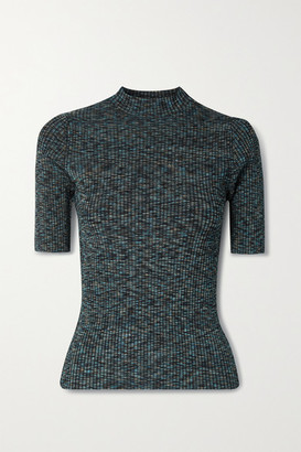 Theory Leenda Space-dyed Ribbed-knit Top - Gray