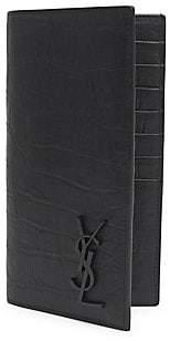 Saint Laurent Men's Croc-Embossed Leather Card Holder