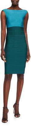 Herve Leger Boat-Neck Bandage-Knit Midi Dress