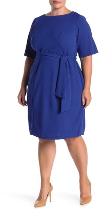 London Times Waist Tie Elbow Sleeve Dress (Plus Size)