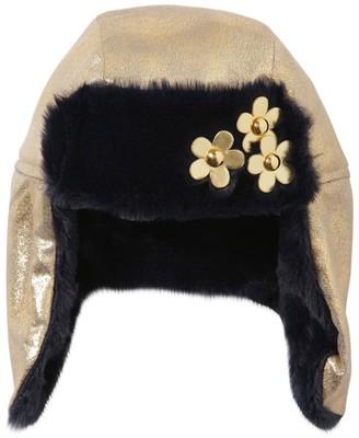 Little Marc Jacobs Coated Aviator Hat W/ Faux Fur