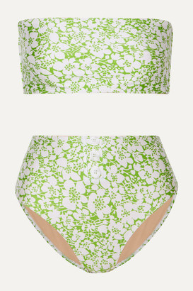 Faithfull The Brand Grete Button-detailed Floral-print Bandeau Bikini - Green