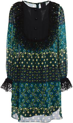 Anna Sui Crochet-trimmed Floral-print Georgette Mini Dress