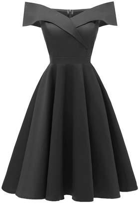 Michel Laperle Women's Cocktail Dresses Black - Black Off-Shoulder A-Line Dress - Women