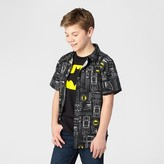 Batman Boys' Short Sleeve Button Down Shirt - Black