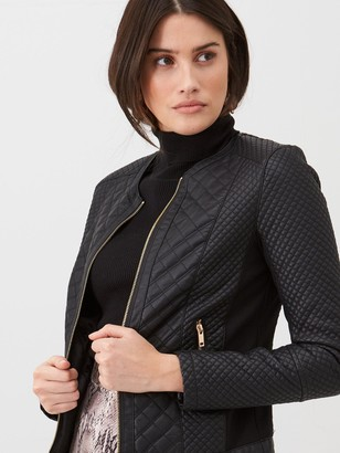 Very Quilted Faux Leather Jacket - Black