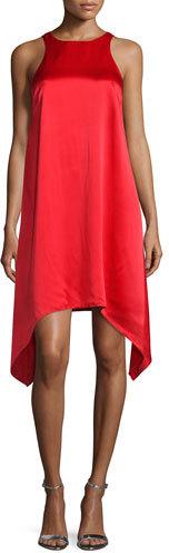 Aidan Mattox Sleeveless Jewel-Neck Trapeze Dress, Red