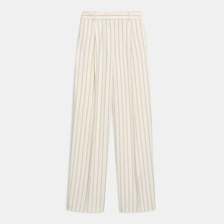 Theory Pleated Trouser in Pajama Stripe Viscose-Cotton