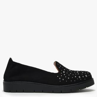 Daniel Yannik Black Suede Scatter Stud Embellished Loafers
