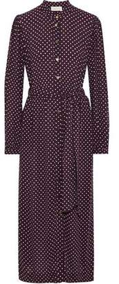 Zimmermann Belted Polka-dot Crepe Maxi Shirt Dress