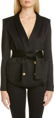 Balmain Belted Knit Blazer