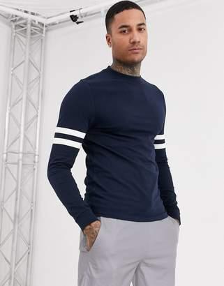 Asos Design DESIGN organic skinny long sleeve t-shirt with contrast sleeve stripes-Navy