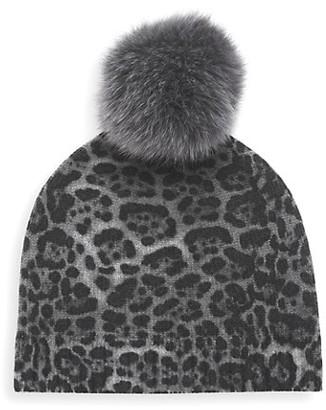 Sofia Cashmere Fox Fur Pom-Pom Leopard-Print Cashmere Beanie
