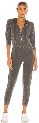 Chaser Bliss Knit Long Sleeve Hooded Zip Up Onesie Jumpsuit