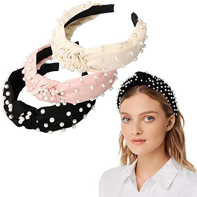 Wide//Pearl//Fabric//Knot Headbands Accessories Cute Beauty Fa... 3 Pack Headbands