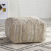 Surya Anthracite Leather Pouf