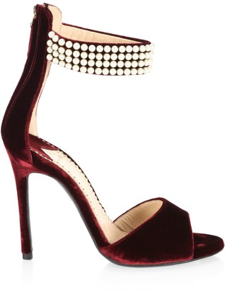 Louis Leeman Embellished Open Toe Velvet Sandals