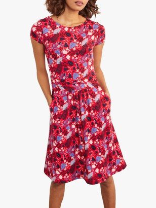 Boden Amelie Floral Print Jersey Dress, Red Paradise