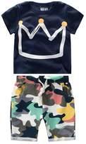 FTSUCQ Boys Cartoon Crown Short Sleeve Shirt Top with Camo Shorts, Two-pieces Sets, 140