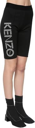 Kenzo Logo Print Stretch Cotton Biker Shorts