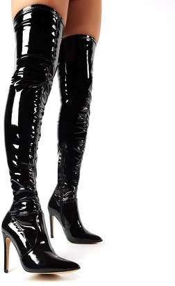 Public Desire Uk Ruthless Over the Knee Boots Patent