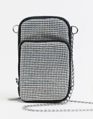 Skinnydip phone pouch cross body bag in rhinestone
