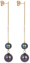 Laura Lee Jewellery Double Petrol Blue Pearl Drop Earrings