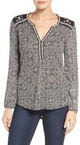 Lucky Brand Women's Mixed Peasant Top