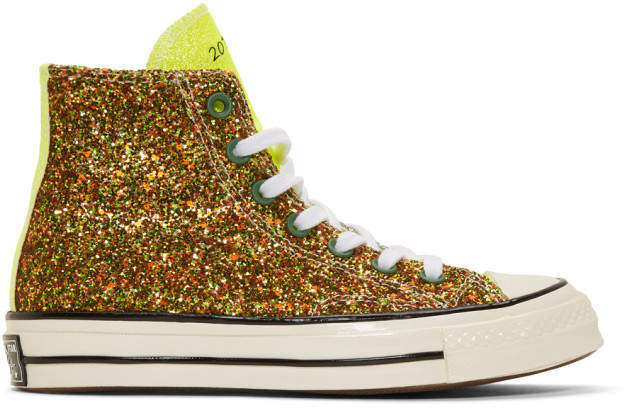 J.W.Anderson Green Converse Edition Glitter Chuck 70 High Sneakers