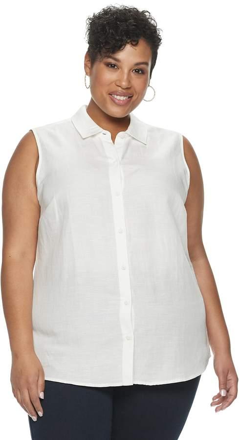 Croft & Barrow Plus Size Button-Down Shirt