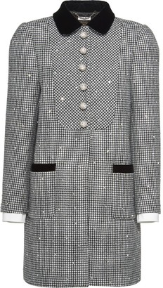 Miu Miu Straight Fit Houndstooth Check Coat