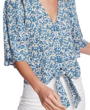 1 STATE Plus Size Floral-Print Tie-Front Blouse
