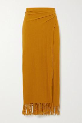 Savannah Morrow The Label The Desert Fringed Ramie Wrap Midi Skirt - Mustard
