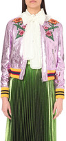 Gucci Embroidered appliqué metallic leather bomber jacket
