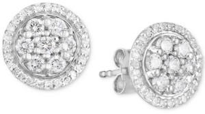 Forever Grown Diamonds Lab-Created Diamond Halo Cluster Stud Earrings (3/4 ct. t.w.) in Sterling Silver