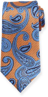 Ermenegildo Zegna Macro Paisley Silk Tie, Orange