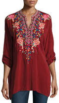 Johnny Was Gemstone Embroidery Long-Sleeve Blouse, Petite