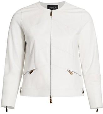 Lafayette 148 New York, Plus Size Adeline Zip Leather Jacket