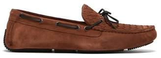 Bottega Veneta Intrecciato Woven Suede Loafers - Mens - Brown