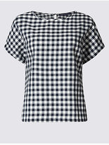 M&S Collection Cotton Blend Gingham Short Sleeve Shell Top