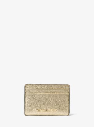 MICHAEL Michael Kors MK Metallic Pebbled Leather Card Case - Pale Gold - Michael Kors