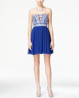 Trixxi Juniors' Jeweled Cutout Fit & Flare Dress