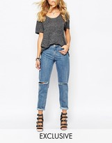 Northmore Denim Low Rise Oversized Boyfriend Jeans With Roll Hem & Ripped Knees