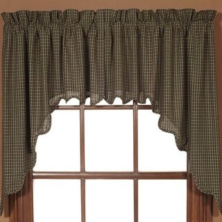 VHC Brands Black Primitive Kitchen Curtains VHC Kettle Grove Plaid Swag Pair Rod Pocket Cotton - Swag 36x36x16